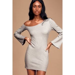 Lulus Heather Grey Off-the-Shoulder Mini Dress